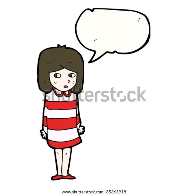 cartoon girl in striped dress looking worried