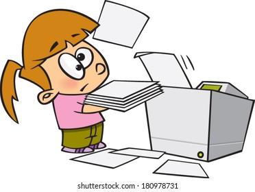 cartoon girl using a photocopier