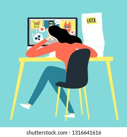 Cartoon girl watching funny pictures and video  instead of working. Procrastination vector illustration for your design.