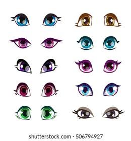 Cartoon girls eyes set. Vector girlish eye, face elements, isolated on white.