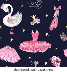 Cartoon girls seamless pattern with hand drawn ballet pointe shoes, tutu, crown, flowers and cute swan. Vector illustration.