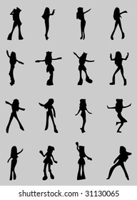 Cartoon Girls Silhouette