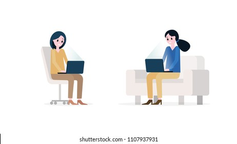 Cartoon girls sitting opposite each other on office chair and sofa and working on notebook pc vector illustration. Freelance education at home concept
