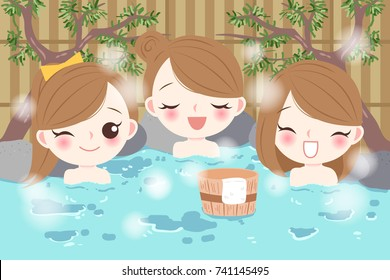 cartoon girls smile happily with hot spring