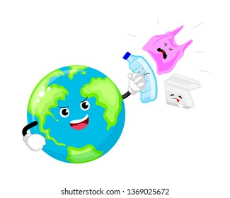 Cartoon globe character punch to plastic and foam product. Say no to plastic bag. Global warming concept. Vector illustration isolated on white background.