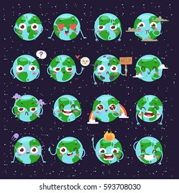 Cartoon globe Earth face with emotion web icons green global smile happy nature character expression and ecology earth emoji planet world blue map vector illustration.