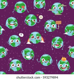 Cartoon globe with emotion web icons green global smile face happy nature character expression and ecology earth planet world map seamless pattern vector illustration.