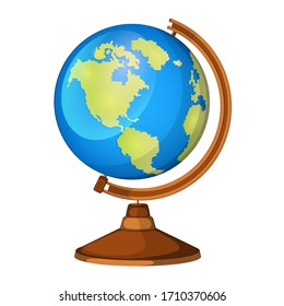 Cartoon globe model on a wooden leg isolated on a white background.Model of the Earth for graphics, clipart etc.
