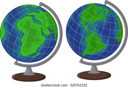 Cartoon globe two side