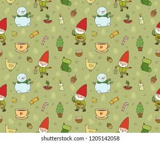 Сute cartoon gnomes. New Year's pattern. Christmas elves. Vector illustration.