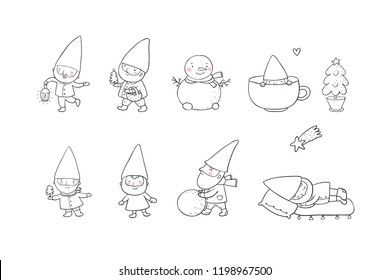 Сute cartoon gnomes. New Year's set. Christmas elves. Vector illustration.