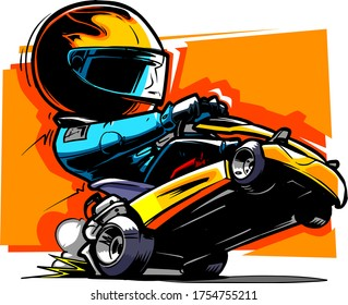 Cartoon Go Kart Racer. Vector Illustration