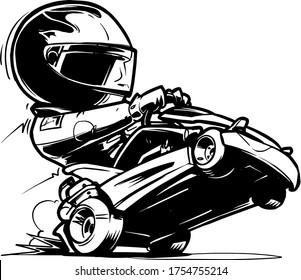 Cartoon Go Kart Racer. Vector Illustration