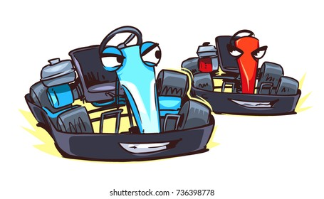 Cartoon Go Karts isolated on white