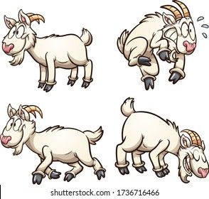 Cartoon goat with different poses and expressions. Vector cartoon clip art illustration with simple gradients. Each on a separate layer.