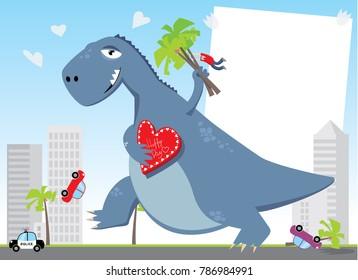 Cartoon Godzilla. Valentines Day. Vector illustration.