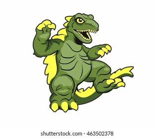 Cartoon Godzilla. Vector illustration.