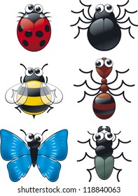 A cartoon goggle eyed bug collection