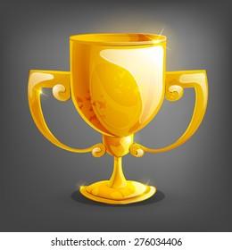 Cartoon gold cup. Vector illustration.