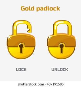 Cartoon gold padlock. Lock and unlock. Vector icons