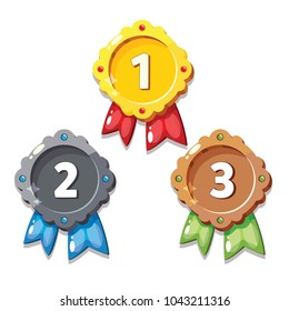 Cartoon gold, silver and bronze medals, isolated vector. Cartoon medals for game design.