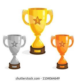 Cartoon gold, silver and bronze winner cup for game design. Game assets.