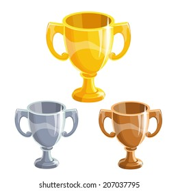 Cartoon gold, silver and bronze winner cup, isolated vectors