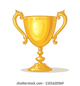 Cartoon Gold Trophy Cup. Winner Concept. Hand drawn vector illustration isolated on white background.