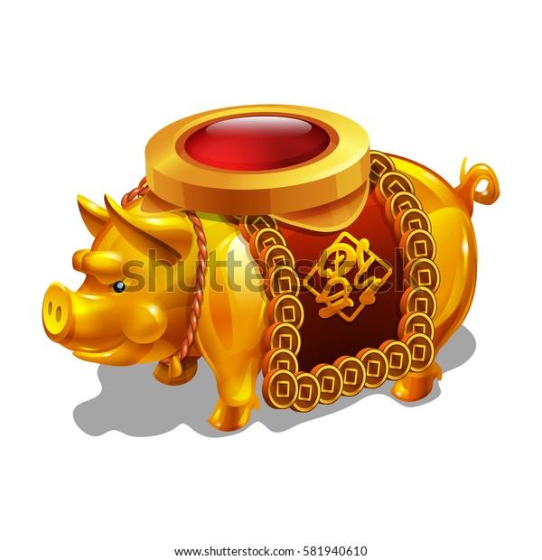Cartoon golden achievement, Chinese Pig figurine. Vector illustration.