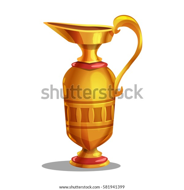 Cartoon golden award, ancient jug. Vector illustration.
