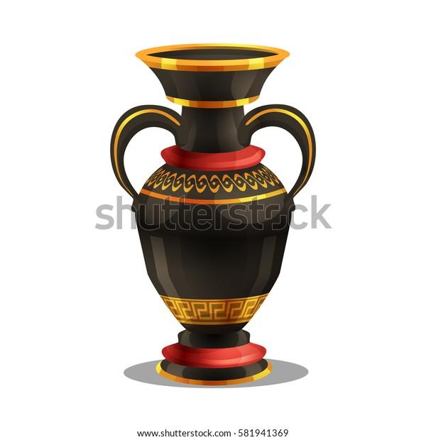 Cartoon golden award, ancient vase. Vector illustration.