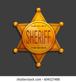 Cartoon golden hexagonal star icon. Vector illustration sheriff badge symbol.