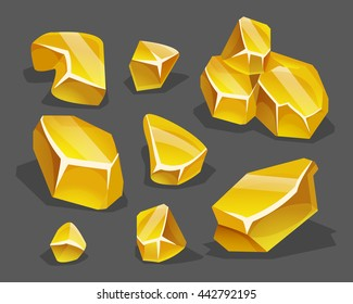Cartoon golden ore in isometric style. Set of different golden boulders. Vector illustration.