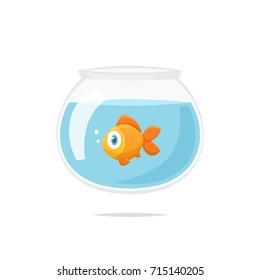 Cartoon goldfish in fishbowl vector