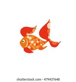 Cartoon goldfish. Vector illustration