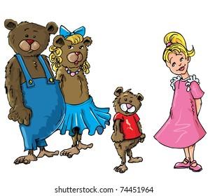 Cartoon of Goldilockes and the three bearsisolated on white