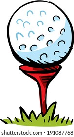 A cartoon golf ball on top of a tee, ready to hit.