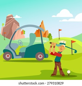 Cartoon golf player doing a swing on the field in the golf club. Retro styled vector cartoon illustration.