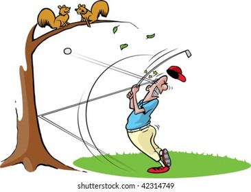 A cartoon golfer getting hit in the head with a ball. Golfer, grass,tree and ball are on separate layers.