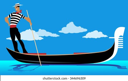 Cartoon gondolier rowing a gondola, EPS 8 vector illustration, no transparencies