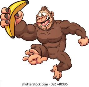 Cartoon Gorilla With Banana Vector Clip Art Illustration Simple Gradients All In A