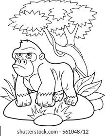 cartoon gorilla walking through the jungle