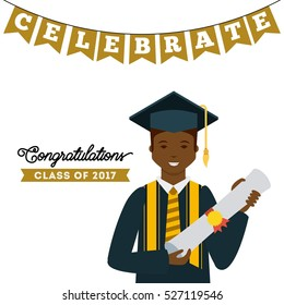 cartoon graduate man holding a diploma icon over white background. colorful design. class of 2017 concept. vector illustration