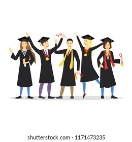 Cartoon Graduation of Happy Students Row Education Concept Element Flat Design Style. Vector illustration of Icon Student People