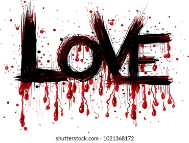 A cartoon of graffiti brush stroke letters spelling the word love with drips of bloody flowing from the letters.