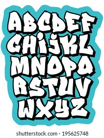 Cartoon Graffiti Comic Doodle Font Alphabet Vector