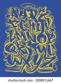 Cartoon graffiti comic doodle font alphabet. Vector banner