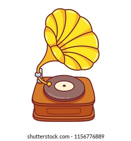 Cartoon Gramophone record player drawing. Cute vector illustration of vintage music equipment.