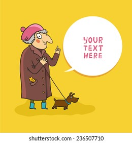 Cartoon grandmother giving advice. Granny with pointing finger and bubble for text. Old woman walking with dog. Vector colorful cartoon illustration