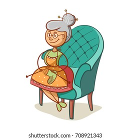 Cartoon grandmother sits on armchair and knits socks. Vector illustration